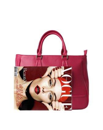 女款玫红色欧式柱锁方角手提包
