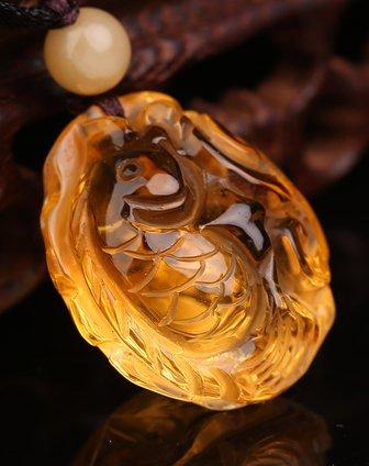 通透干净天然黄水晶雕刻年年有鱼厚装吊坠