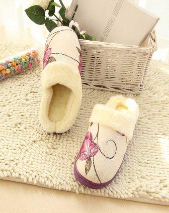 女士紫色中国风玫瑰花棉拖鞋