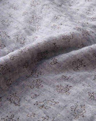 蓝灰色印花文艺长袖连衣裙