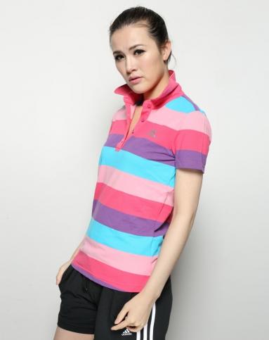 女子彩色条纹短袖polo衫