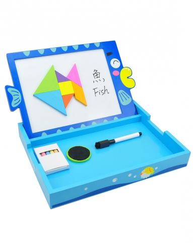 智立方小黑板白板粉笔三角形鱼儿造型画板
