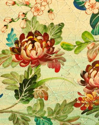 欧式手绘花鸟大型油画木制拱顶壁画装饰画1号