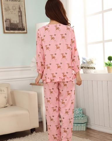粉色小鹿女士长袖纯棉睡衣两件套-唯品会