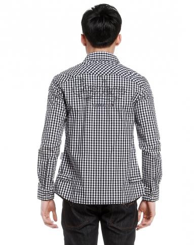 黑白色格子长袖衬衫