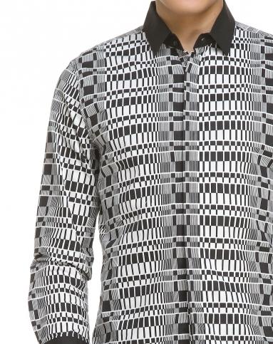 黑白色格子长袖休闲衬衫