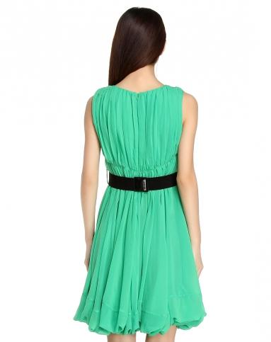 绿色优雅皱褶无袖连衣裙