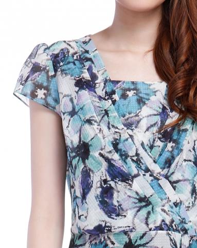 浅蓝绿/多色花纹高贵短袖上衣