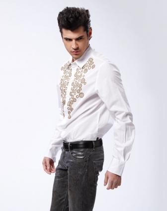 男款白/暗金色圆圈花长袖衬衫