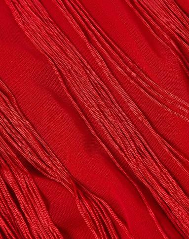 大红色欧美时尚流苏无袖连衣裙