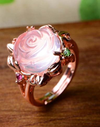 女性玫瑰花天然粉水晶招桃花戒指附证书