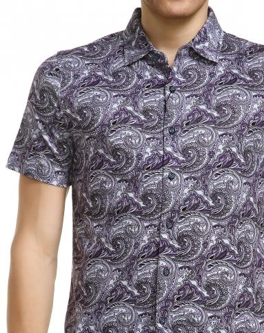 佩里斯花纹紫混黑色短袖针织衬衫