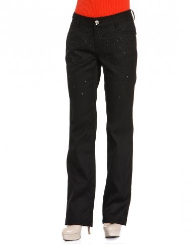 黑色烫钻刺绣字母长裤