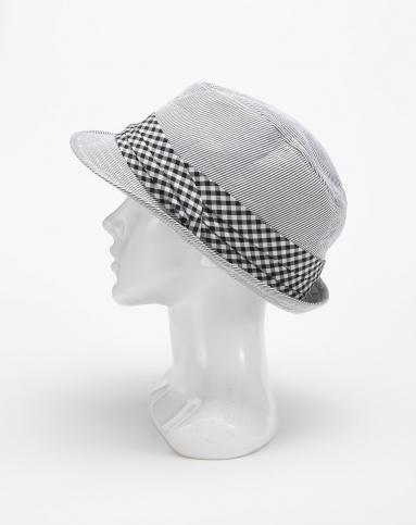 英伦风黑白条纹草帽