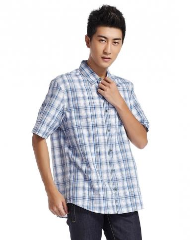 男款欧式时尚蓝白色格纹短袖衬衫