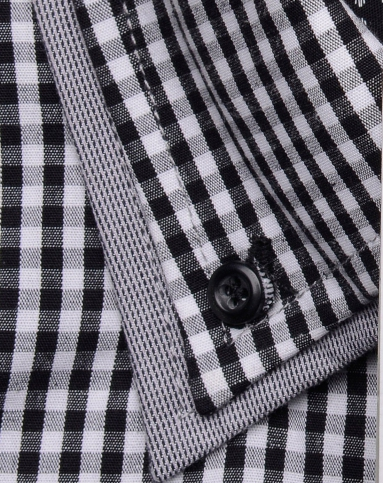 男士黑白色格子长袖衬衫