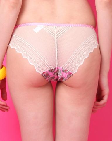 深粉色可爱印花三角内裤