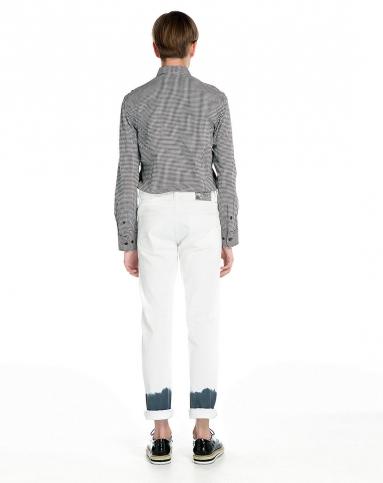 个性拼料黑白色格子长袖衬衫