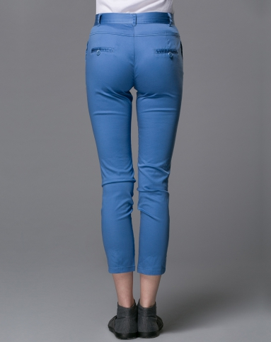 女款百搭纯色直筒休闲淡蓝色长裤