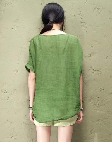 玻璃鳗 下摆松紧文艺范透气衬衫 草绿