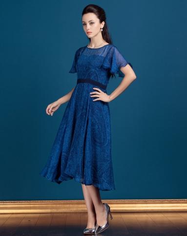 真丝深蓝色典雅碎花短袖连衣裙