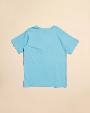 男童简单贴袋浅蓝色短袖t恤