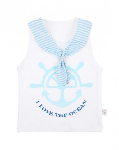 男童浅蓝色海军领结背心五分裤套装