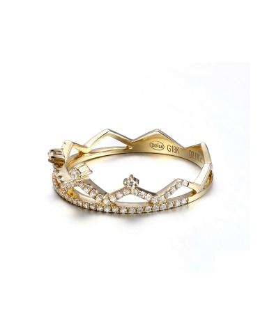 通灵珠宝 皇冠款彩18k金钻石戒指