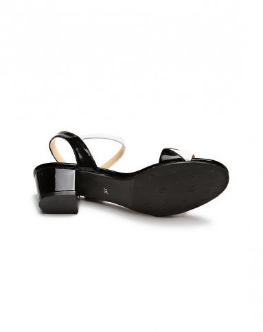 女款时尚拼接黑白色高跟凉鞋