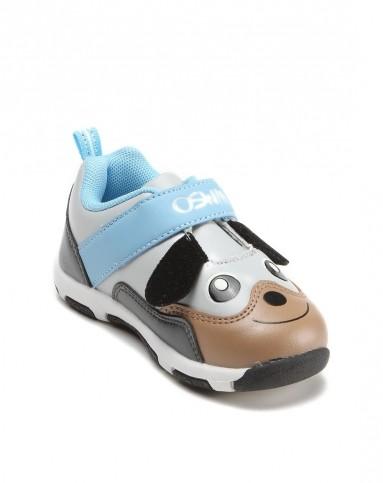 浅灰色可爱动物图案男童鞋