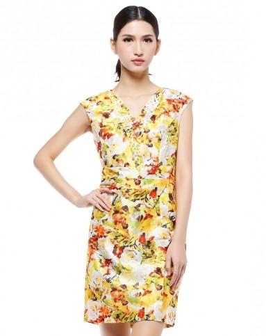 黄/绿色v领花纹端庄盖肩袖连衣裙