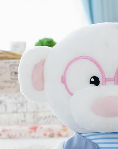 蓝白玩偶 眼睛熊-情侣-站姿女-50cm