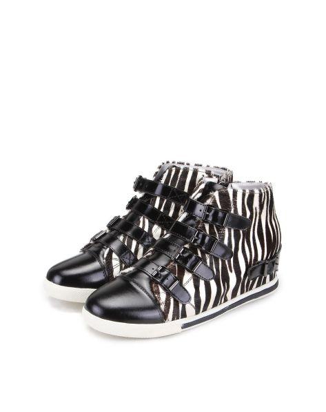 迈思mux女鞋专场mux 黑 白色饰 扣条 带斑马纹
