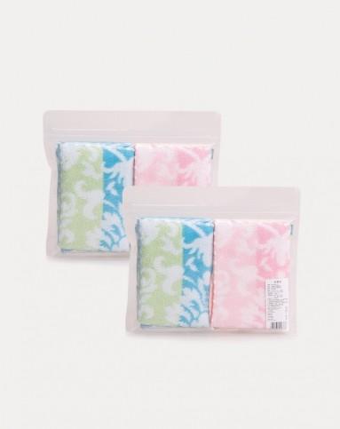 婴儿粉色 绿色渐变花纹毛圈手帕2条装
