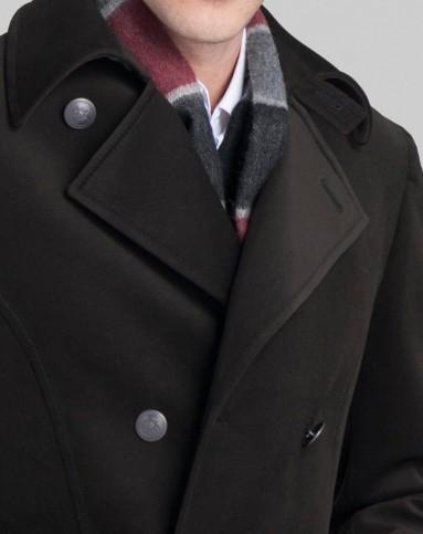 欧式时尚双排扣墨绿色大衣