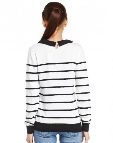 女款本白款立体波浪式花边条纹线衫