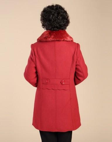 枣红色高档毛领中长款毛呢大衣