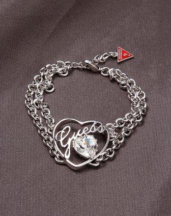 2012新款银色双股链心形镂空镶水钻logo元素手链