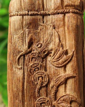 天然印尼马拉ok野生沉香雕刻书卷手把件【福在眼前】