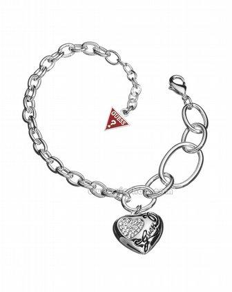 guess 女款银色镶晶桃心挂坠不规则链圈设计手链