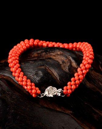 天然红珊瑚手链圆珠三角链