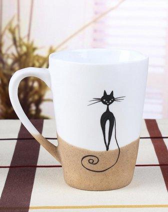 手绘陶瓷杯-苗条猫咪