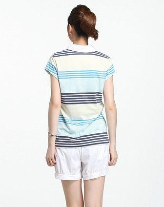 彩色条纹短袖休闲polo衫