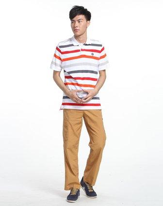 男子彩色条纹短袖polo衫
