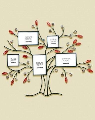 红咖啡色智慧树铁艺相片墙5联