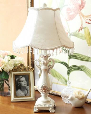 白色串珠灯罩欧式优雅台灯