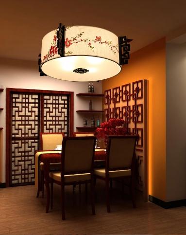 比月中式客厅新古典手绘吸顶灯3019