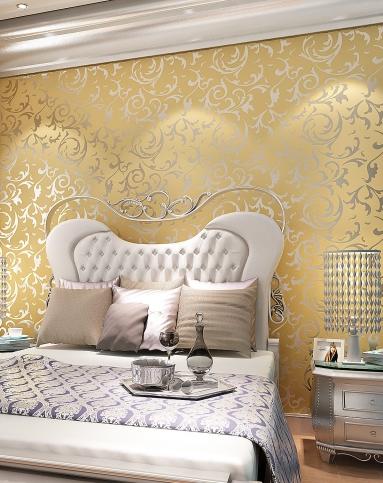 金黄色3d立体植绒欧式背景墙壁纸