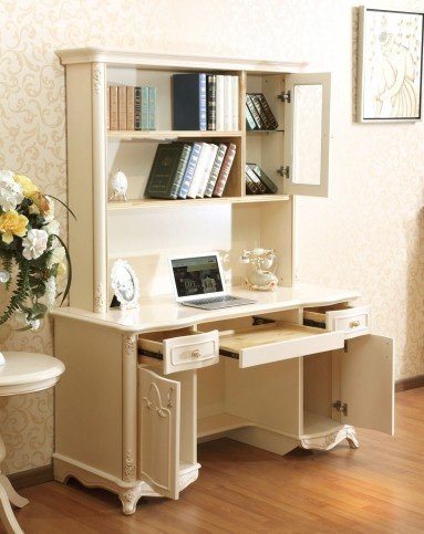 现代简约欧式上下书柜 雕刻上下书桌