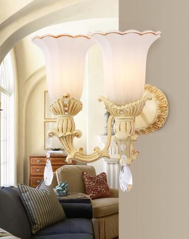 欧式复古雕花水晶壁灯美式壁灯70048